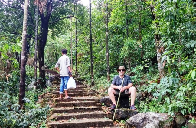 Taking a break on trek to the Double Decker Root Bridge at Nongriat ~ Cherrapunji ~ Meghalaya ~ India
